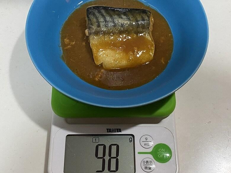 コープデリ 骨取りさばの味噌煮 切り身の重さ