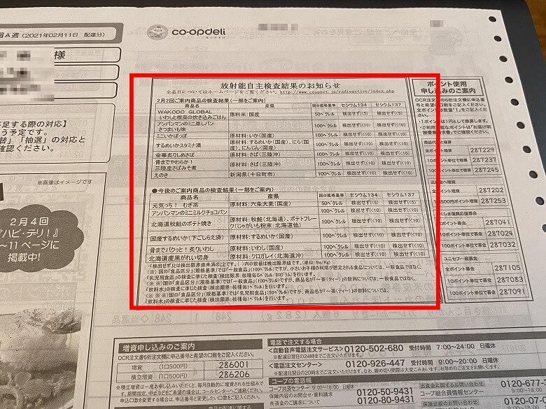 コープデリ 利用申し込み方法 ご利用明細書兼請求書の放射能自主検査結果