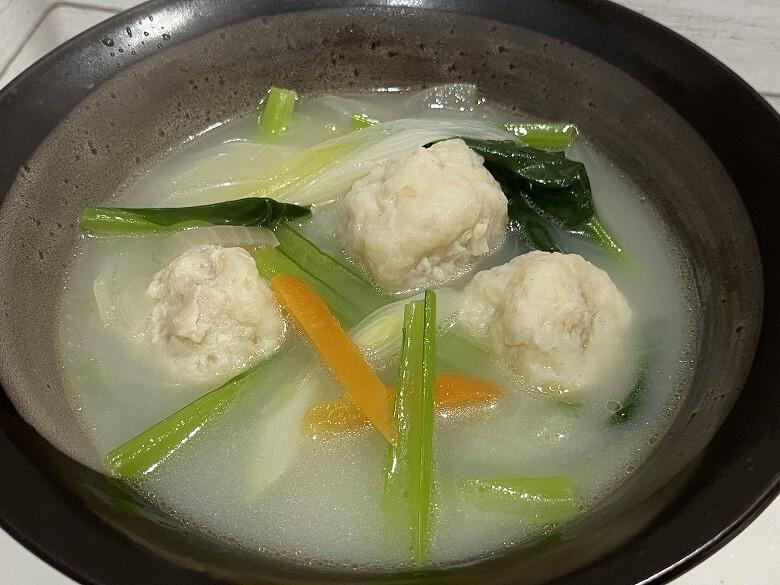 コープデリ「みつせ鶏のふわふわだんごと白湯スープ」完成盛り付け