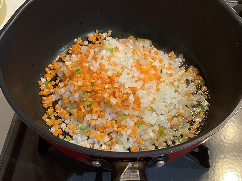 「コープデリミールキット1/3日分野菜が摂れる半熟玉子のドライカレー」作り方②