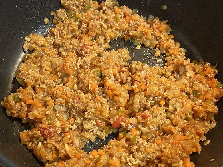 「コープデリミールキット1/3日分野菜が摂れる半熟玉子のドライカレー」作り方⑤