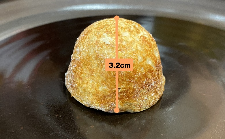 コープデリ「たこ焼50個入(1kg)」レビュー たこ焼き1個の高さ