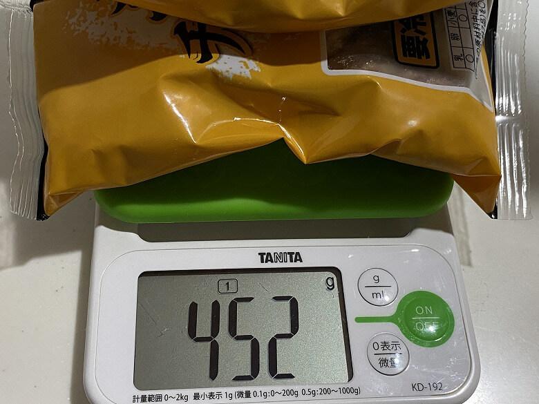 「レンジで!ふっくらやわらかチーズインハンバーグ レビュー」全体の重さ