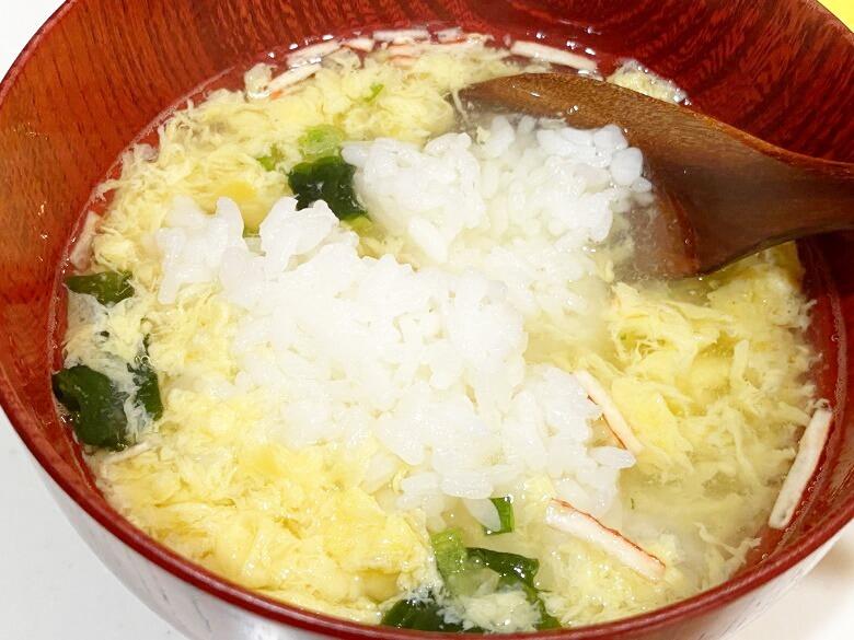コープデリ「たまごスープ 10食入」 レビュー アレンジ冷やし雑炊③