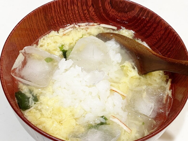 コープデリ「たまごスープ 10食入」 レビュー アレンジ冷やし雑炊④