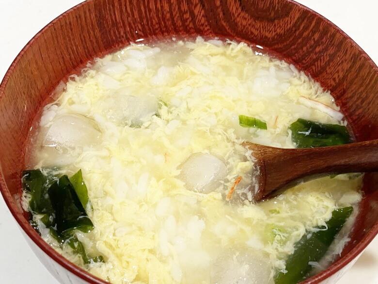 コープデリ「たまごスープ 10食入」 レビュー アレンジ冷やし雑炊①